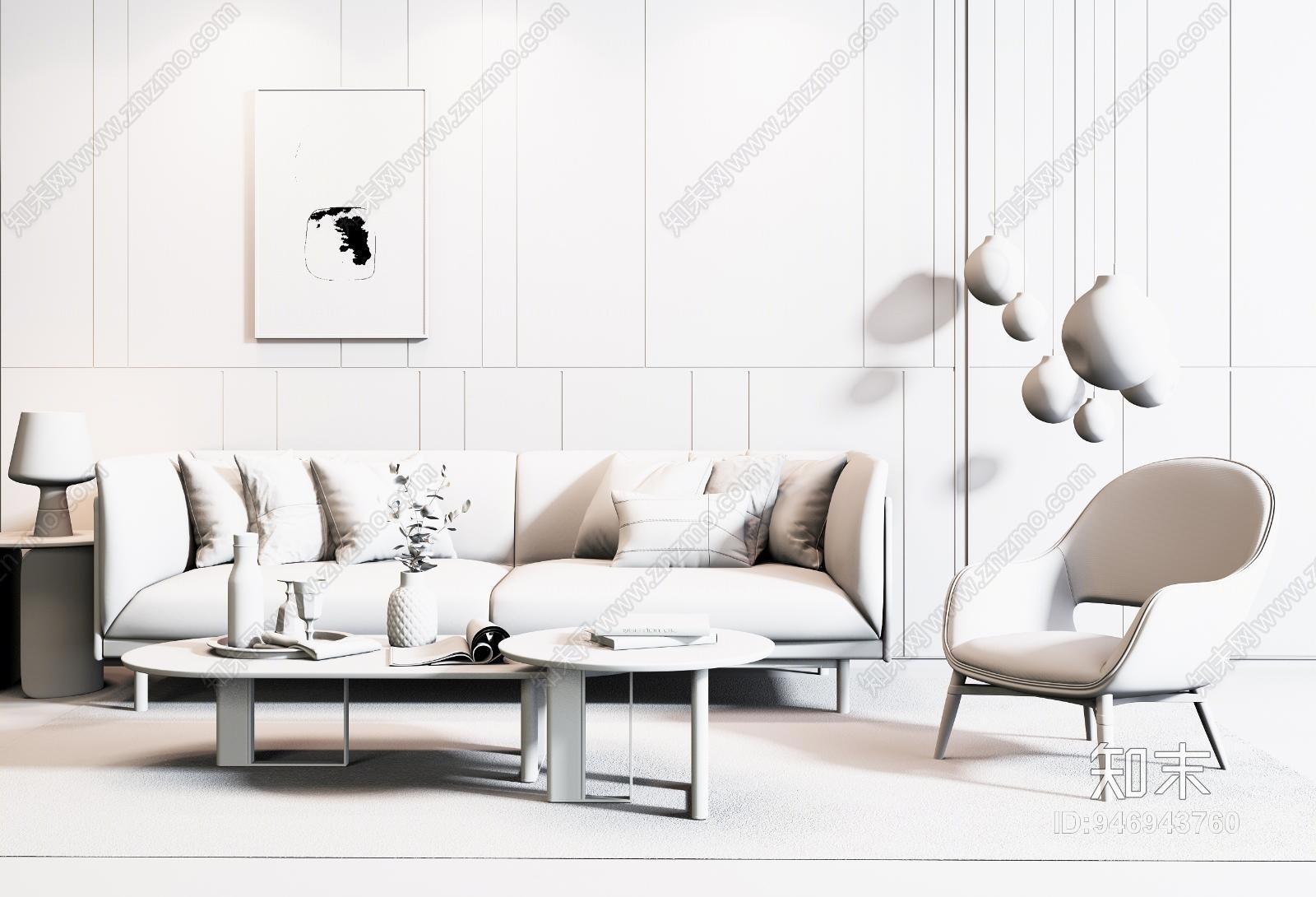 现代双人沙发3D模型下载【ID:946943760】