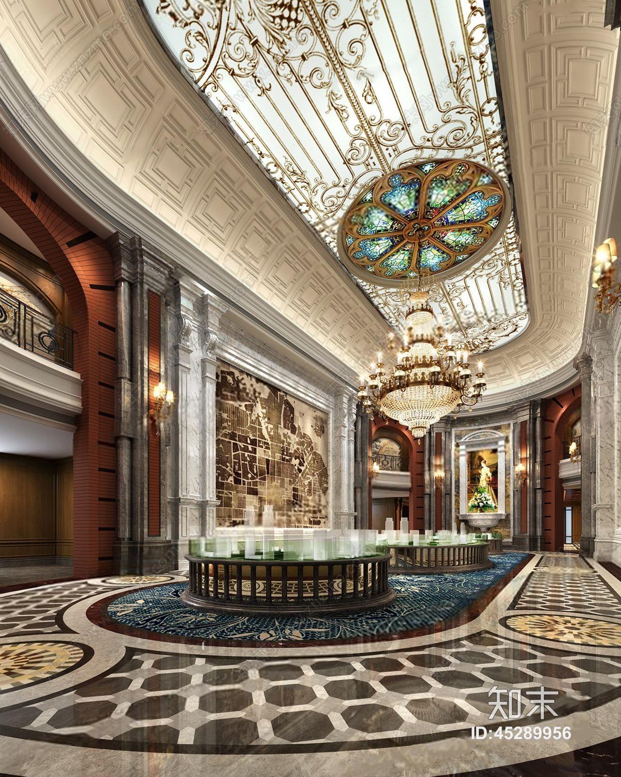 欧式古典售楼处 欧式古典售楼处 沙盘 吊顶 欧式水晶吊灯 宫廷吊灯