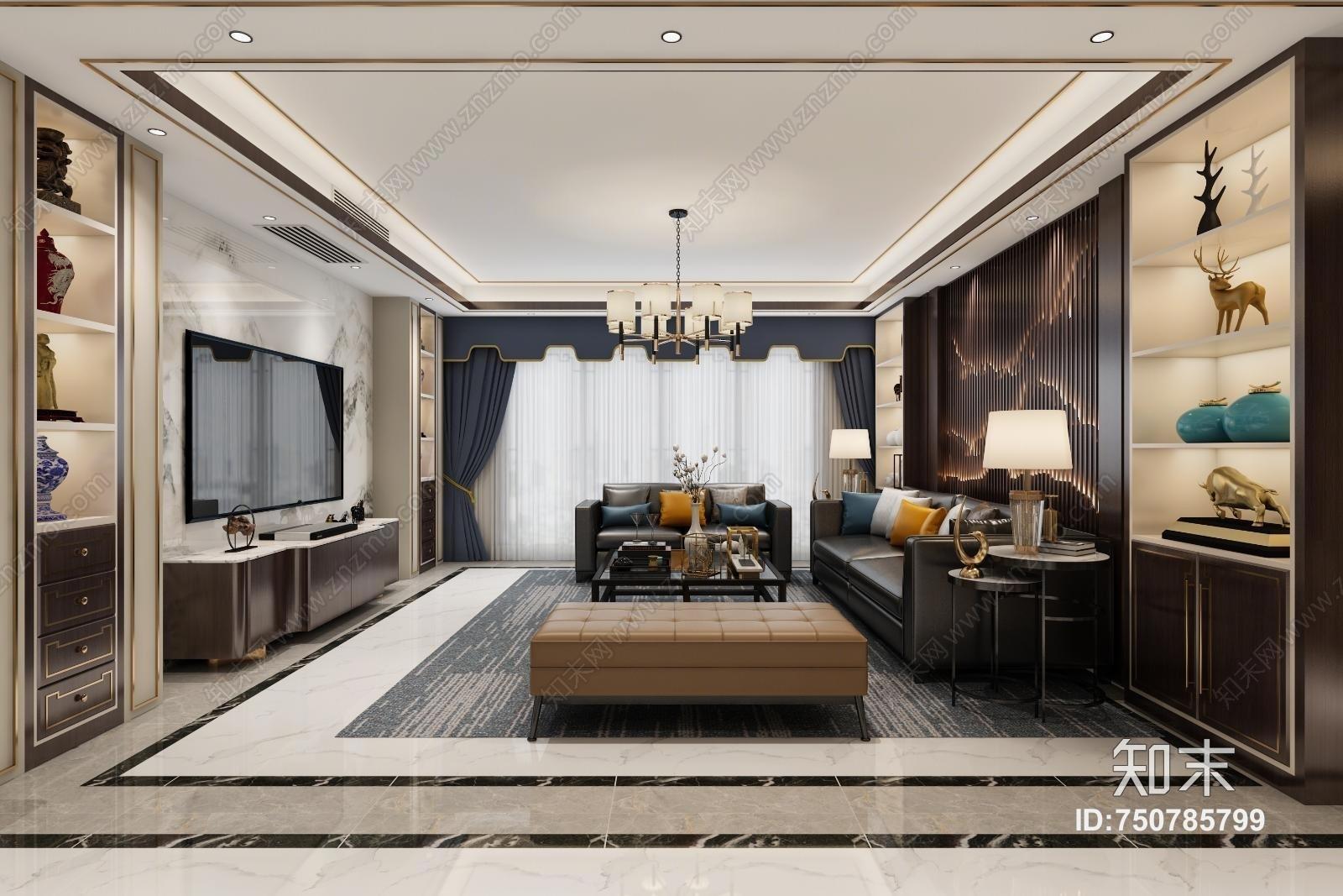新中式客厅 沙发 餐桌