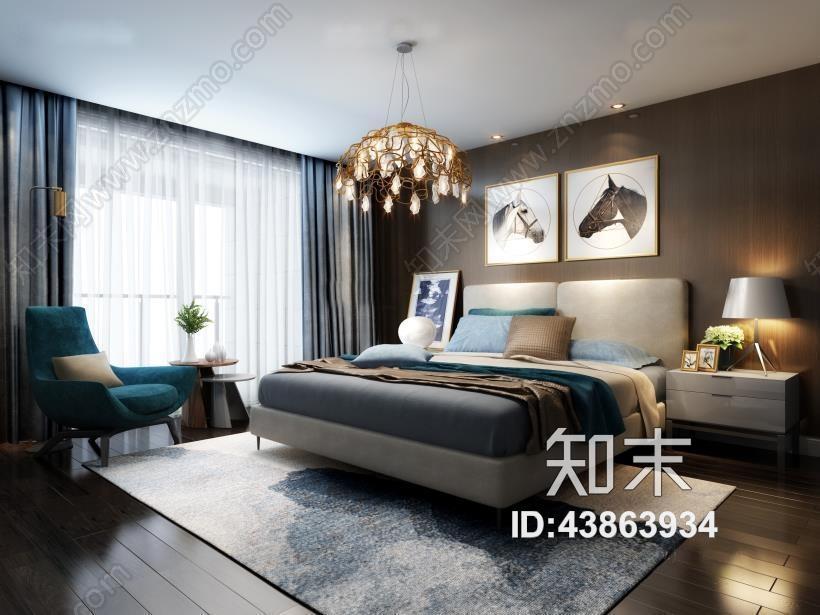 现代卧室 现代卧室 双人床 床头柜 沙发椅 台灯 挂画 吊灯 边几 绿植 地毯