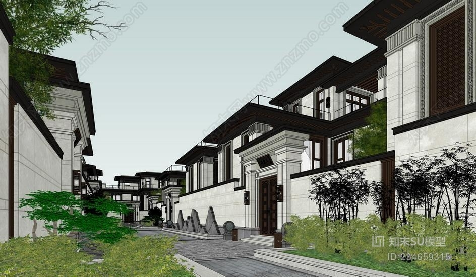 中式合院别墅SU模型