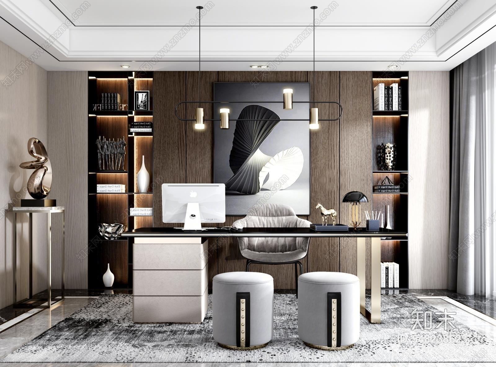 现代书房 书桌椅组合 书柜 装饰艺术品