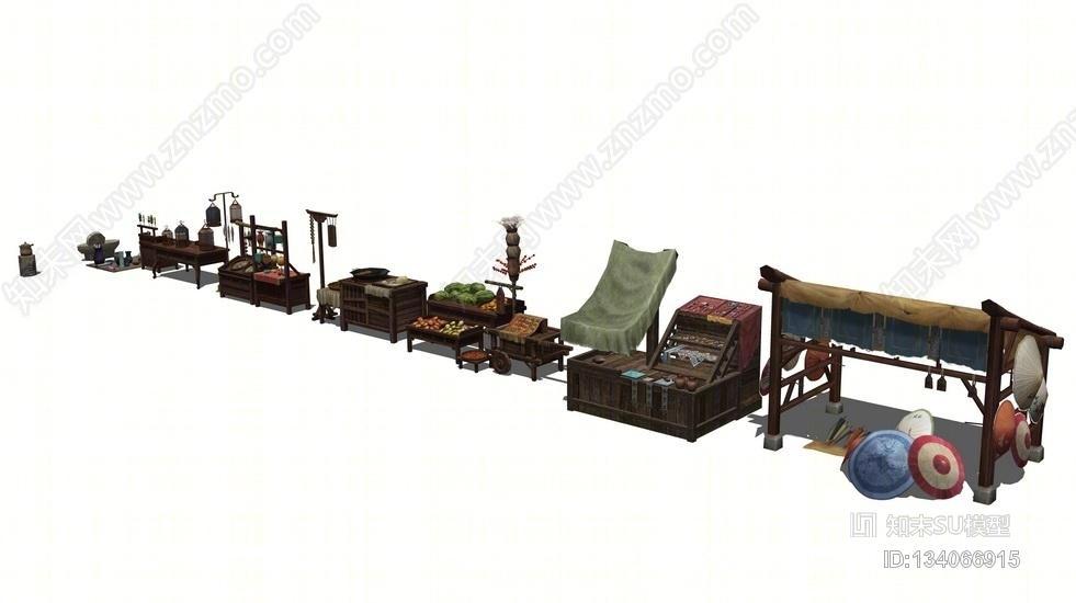 古代商业街小品组合SU模型SU模型下载【ID:134066915】