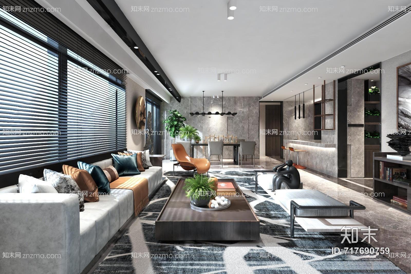 唐忠汉现代客厅 吊灯 多人沙发组合 茶几 沙发凳 吧台 置物架 书架 桌椅 装饰物