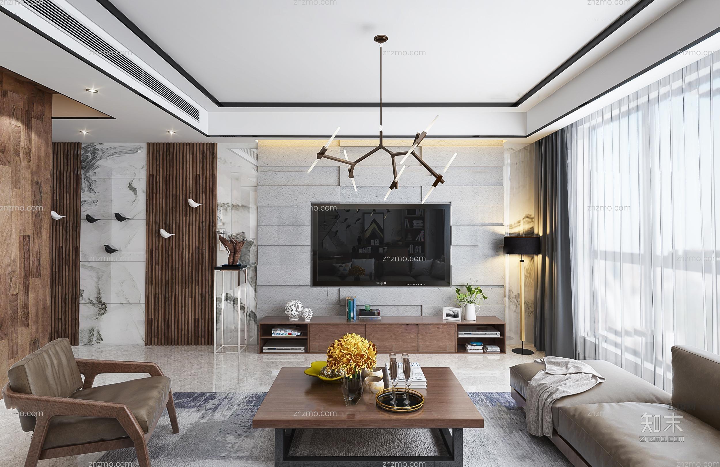 现代客厅 吊灯 沙发茶几 休闲椅 挂画 插花