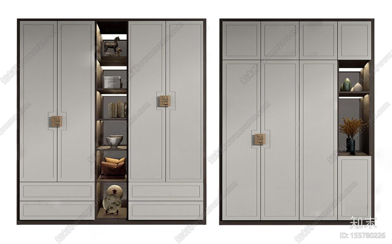新中式实木衣柜3d模型3D模型下载【ID:155780226】