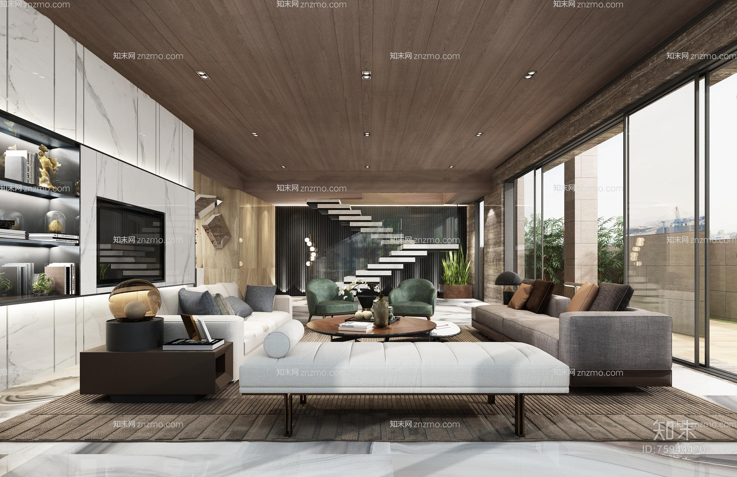 现代客厅 沙发茶几 双人沙发 摆件 单人沙发 角几 沙发凳 壁灯 楼梯