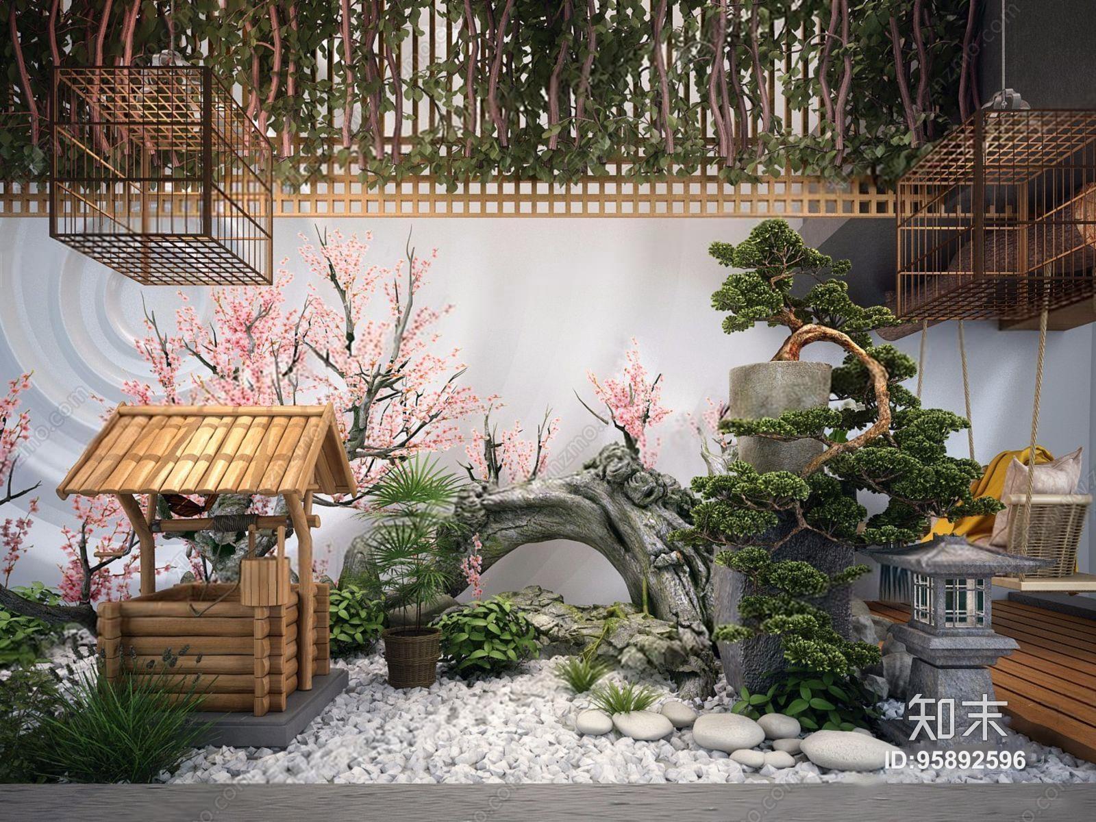 中式景观阳台设计 效果图