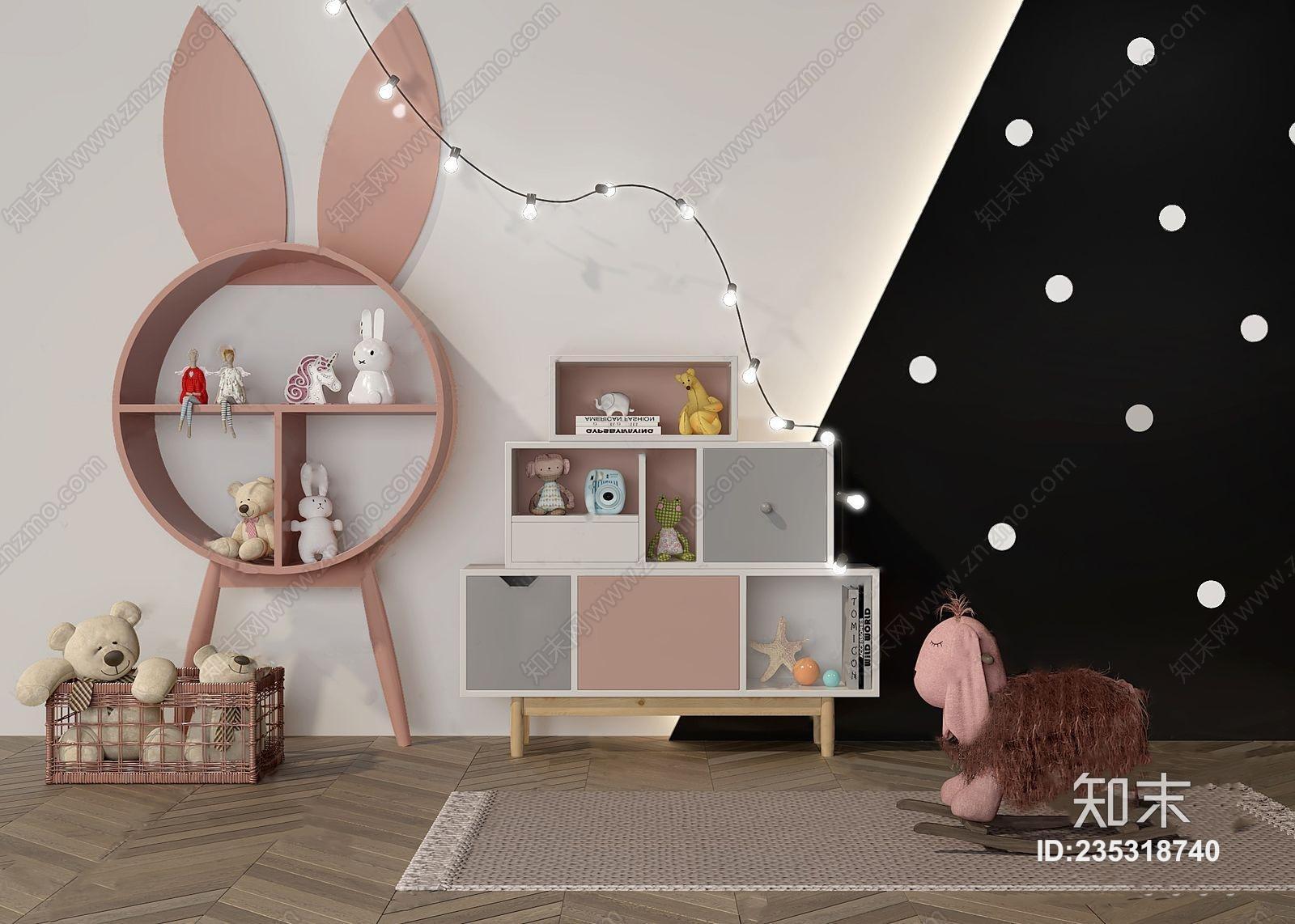 北欧风格儿童装饰柜书柜 北欧装饰架 书柜 柜子 儿童柜 装饰柜 兔子 彩灯 玩具 毛绒玩具 玩具熊 地毯