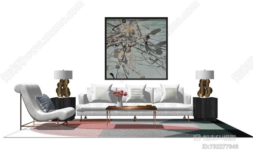 美式客厅沙发茶几组合SU模型