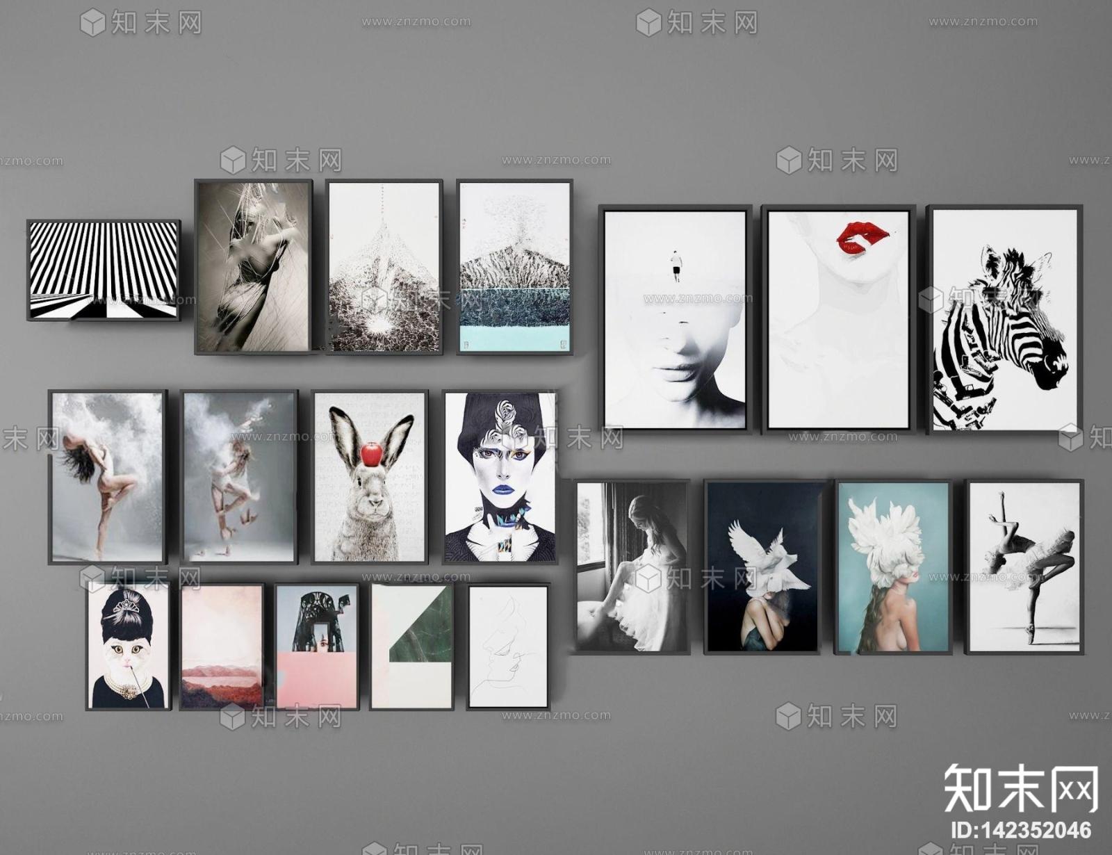 现代人物动物装饰画3d模型