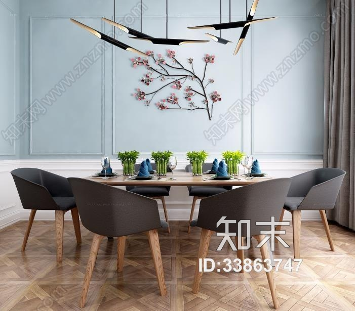现代北欧餐桌椅组合 北欧餐桌椅 餐厅 吊灯
