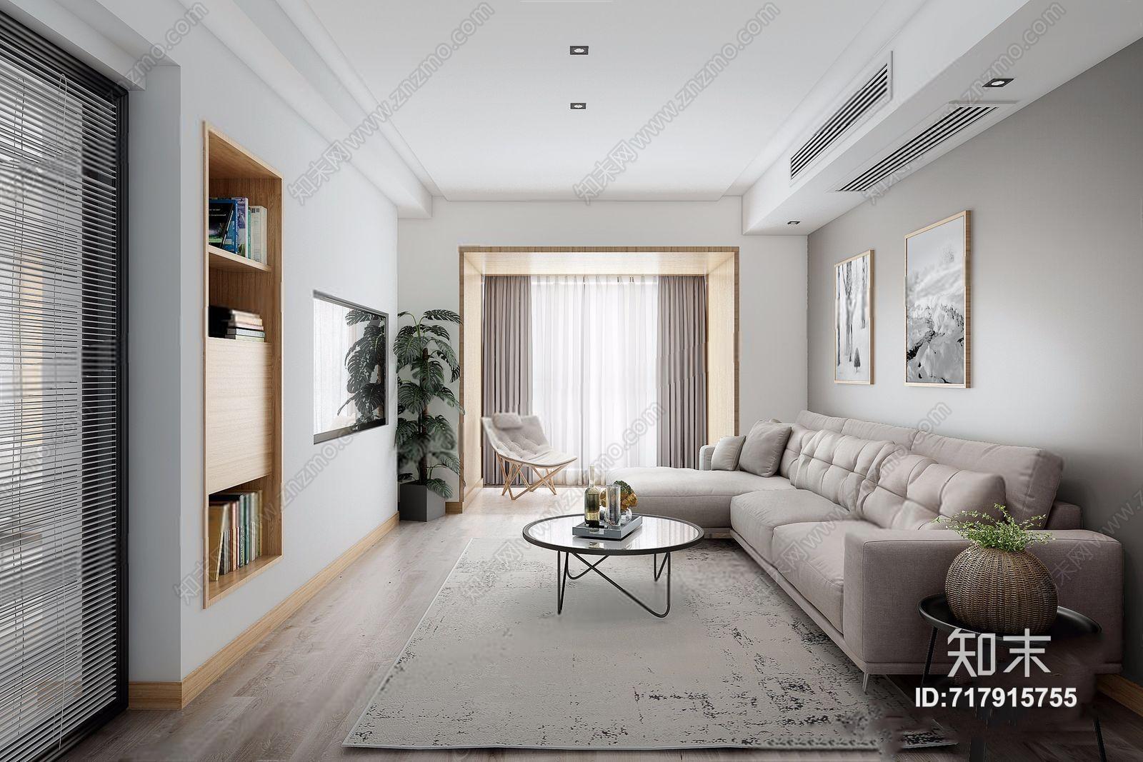 现代客厅 现代客厅 多人沙发 圆茶几 电视背景墙 绿植 休闲椅 挂画