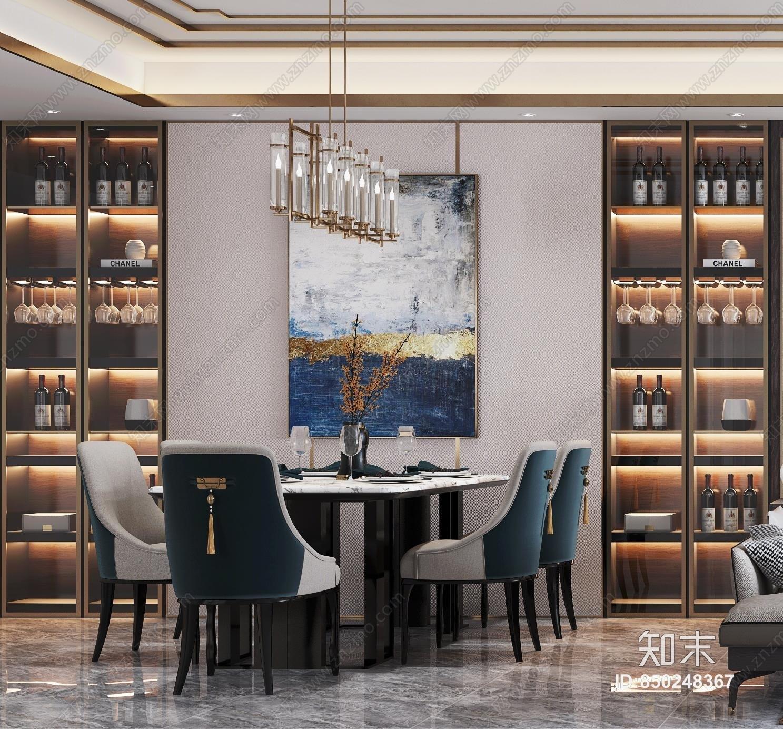 新中式客餐厅3D模型下载【ID:850248367】