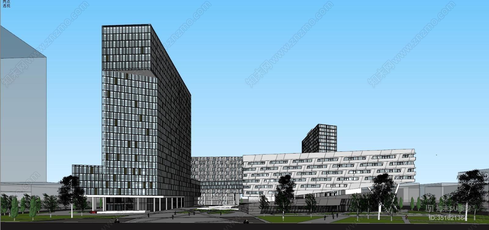 现代风格办公楼SU模型下载【ID:351621364】