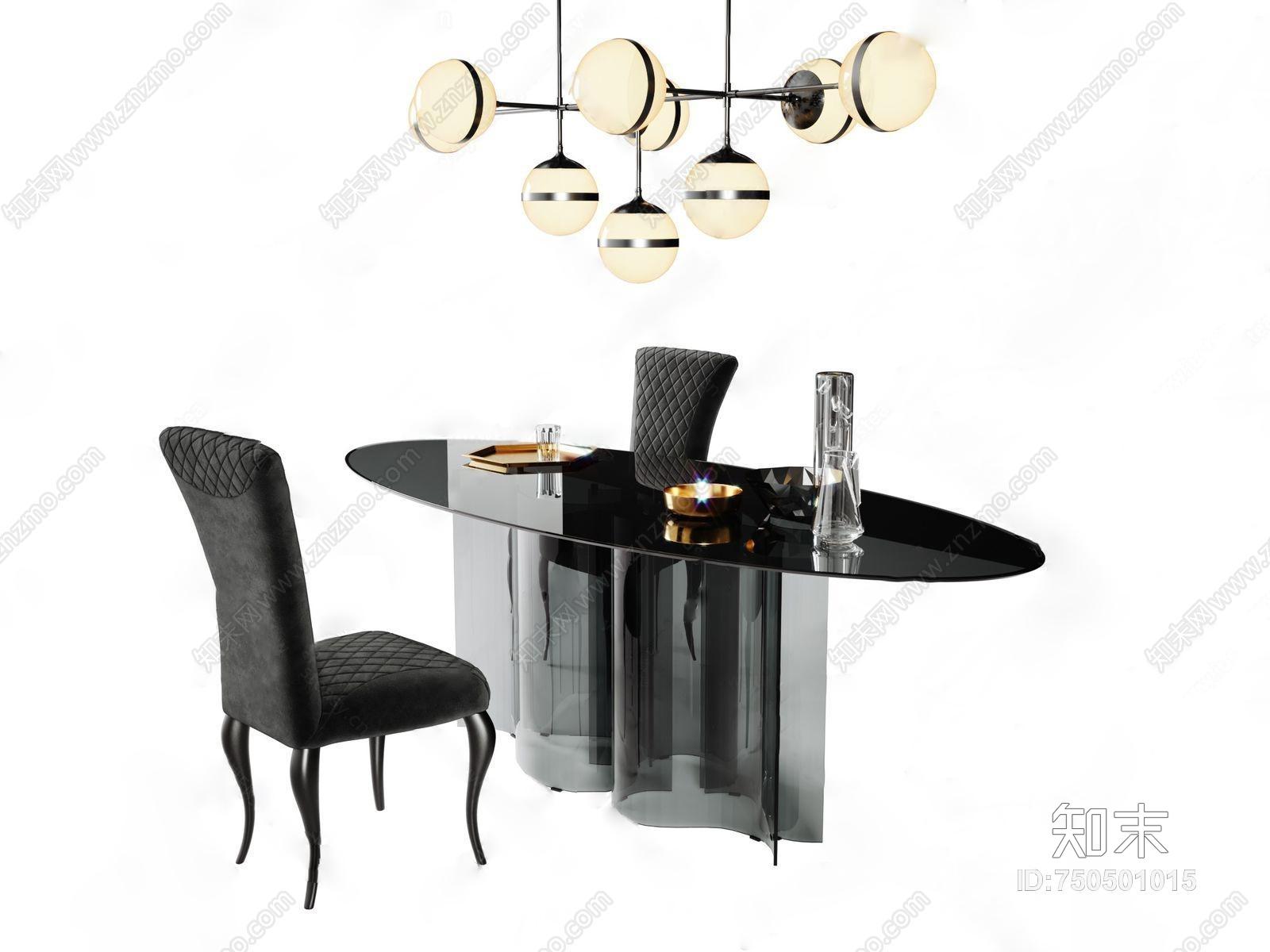 现代轻奢餐桌椅组合3D模型下载【ID:750501015】