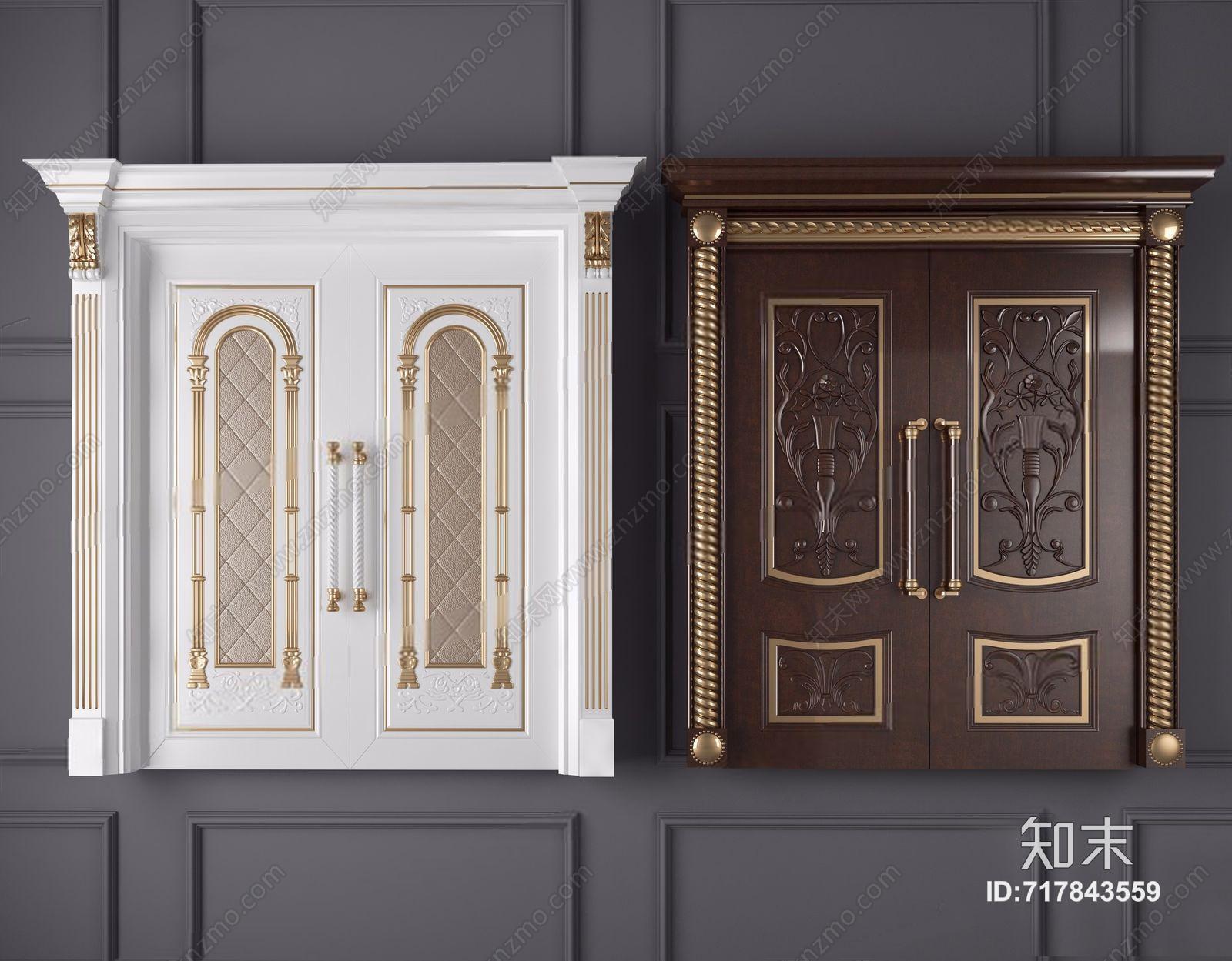 欧式实木雕花双开门 简欧门 双开门 实木门 门把手 拉手
