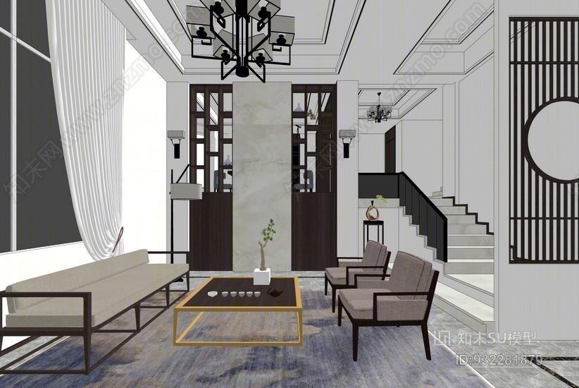 现代风格客厅餐厅室内设计SU模型