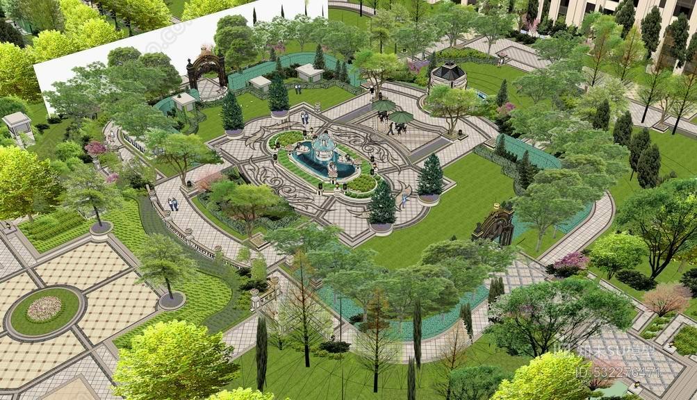 欧式高层小区景观设计SU模型