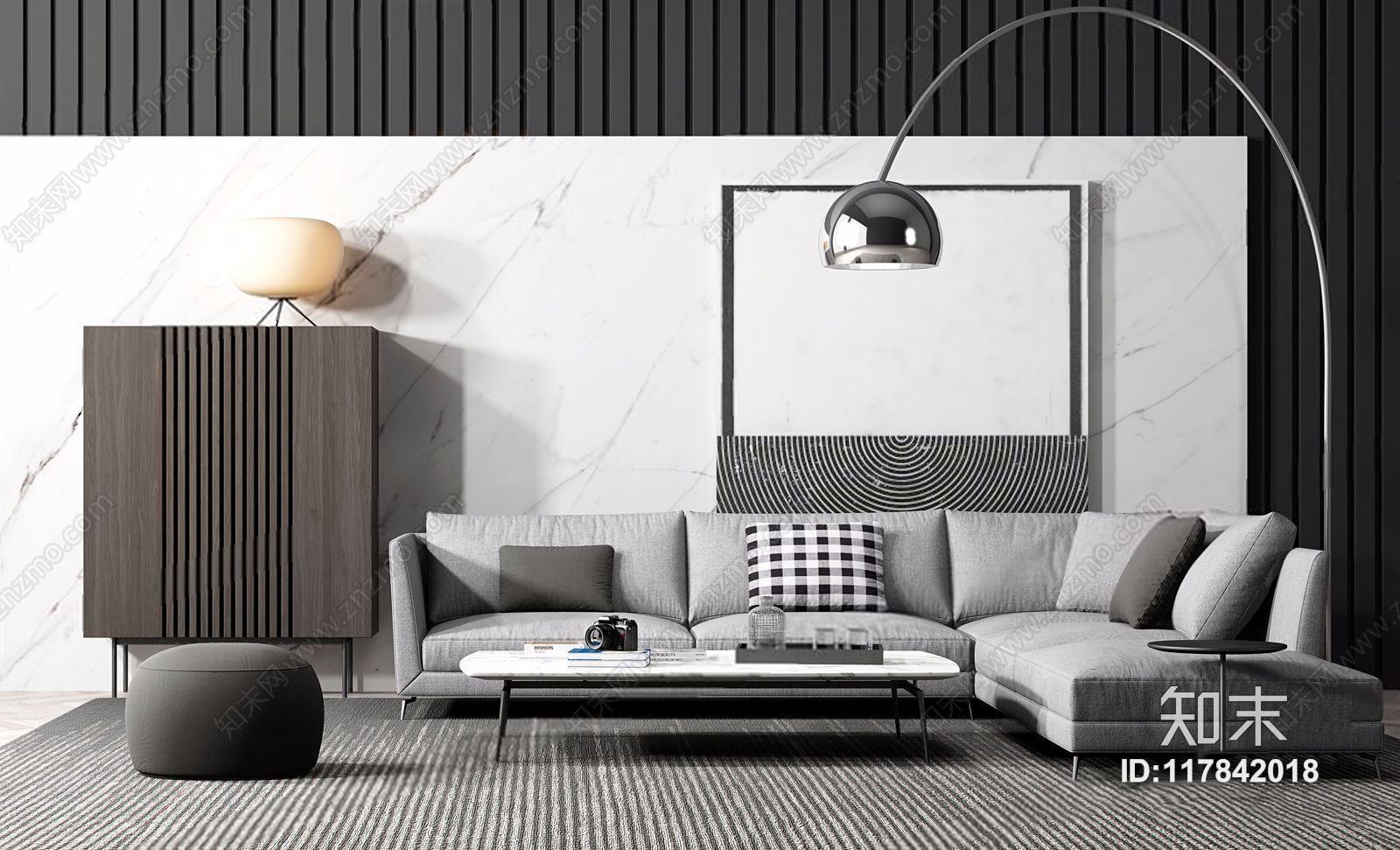 现代布艺沙发组合 现代组合沙发 多人沙发 茶几 坐垫 装饰柜 落地灯 台灯 转角沙发 背景墙