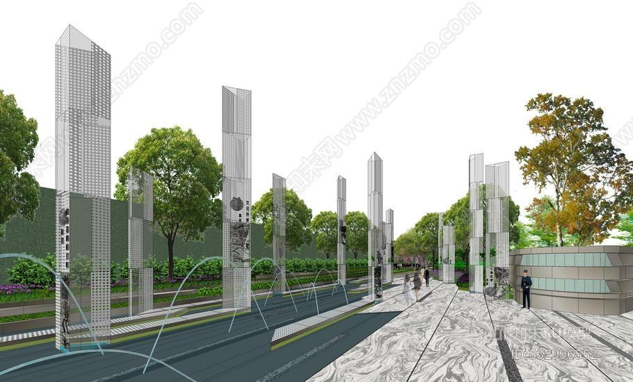 现代售楼处示范区景观SU模型