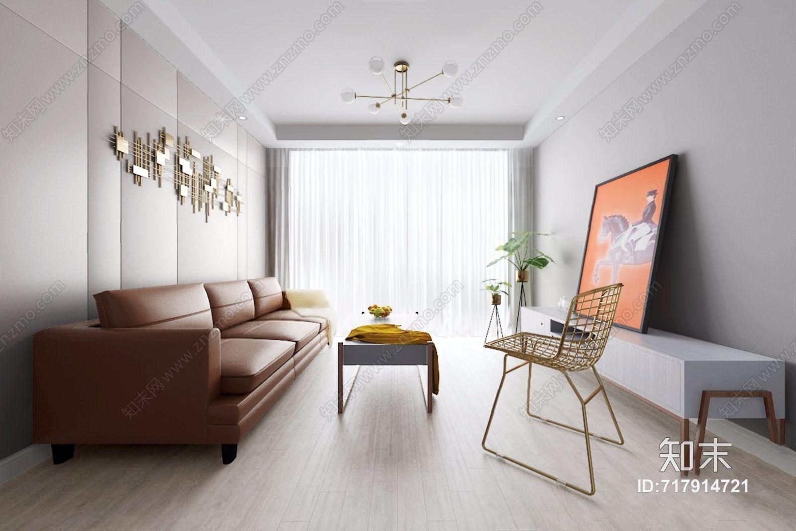 鸿鹄设计 现代客厅 现代客厅 多人沙发 茶几 电视柜 金属椅子 吊灯 金属墙饰 皮质沙发 挂画 鸿鹄设计