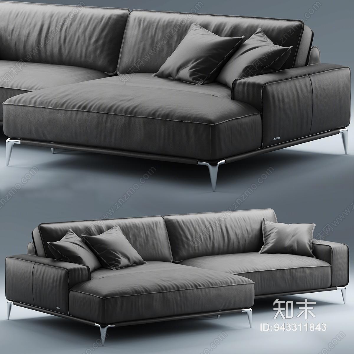 现代风格皮质转角沙发3D模型下载【ID:943311843】