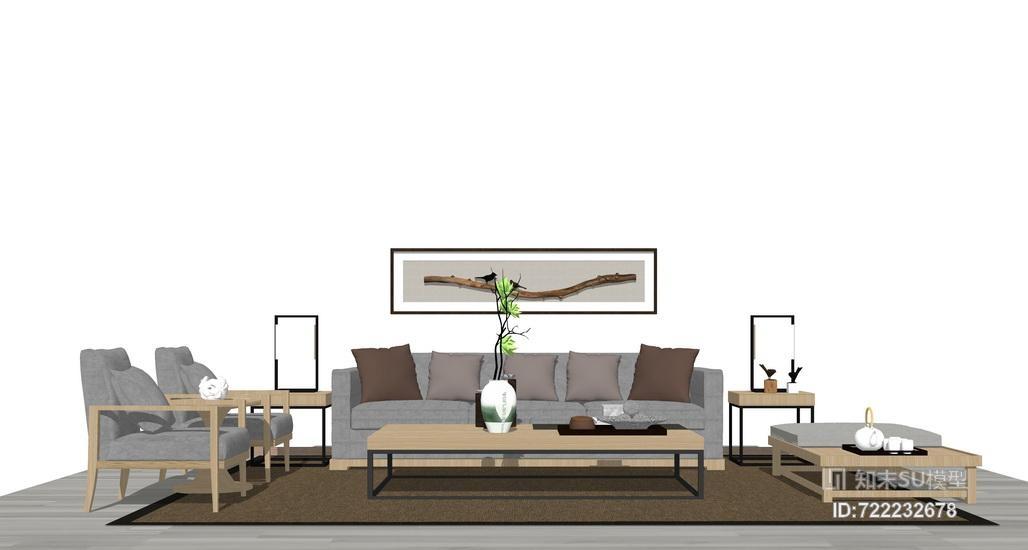 新中式客厅沙发茶几组合SU模型