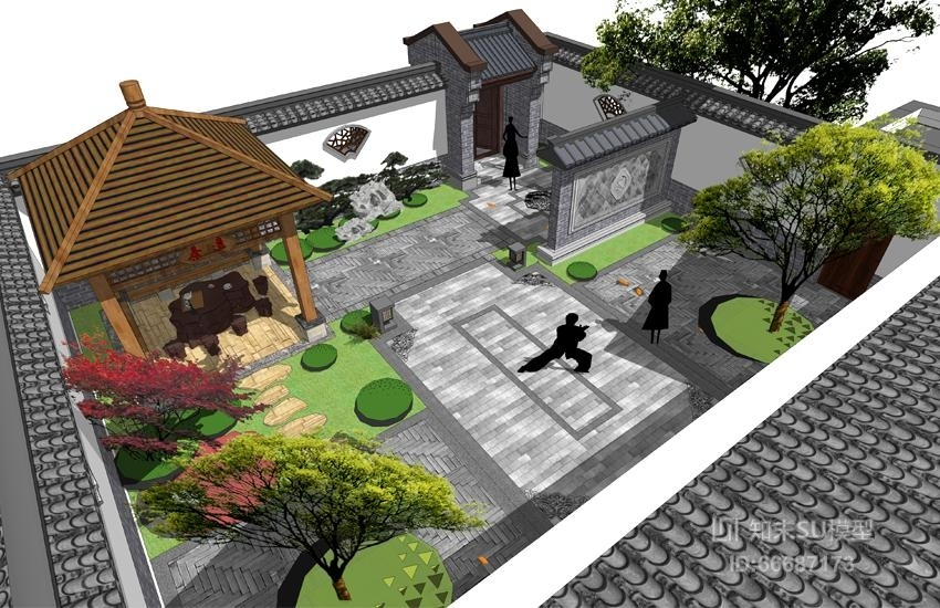 中式西北院子庭院景观SU模型