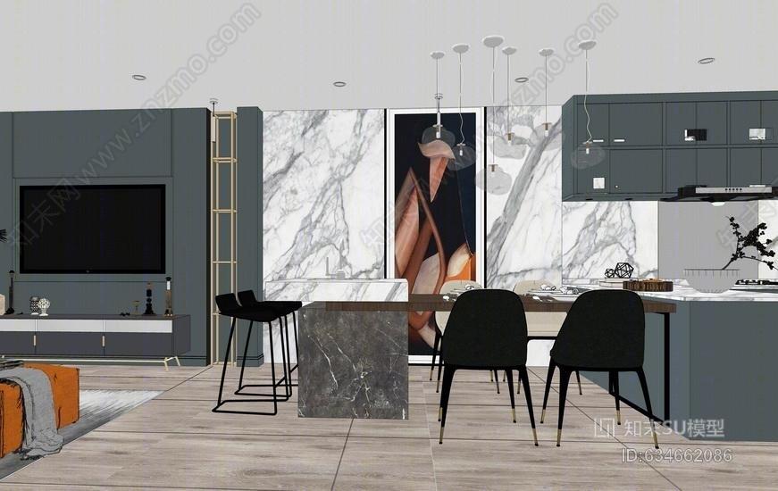 现代客厅餐厅室内设计SU模型SU模型下载【ID:634662086】
