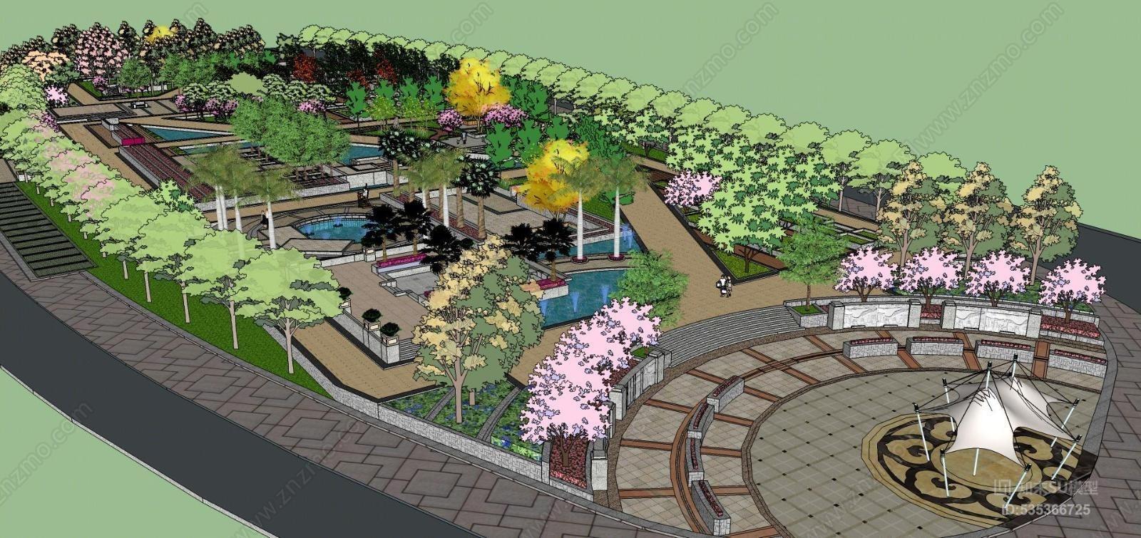 公园广场整体景观模型