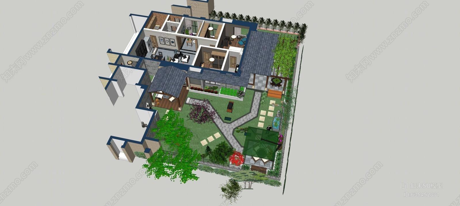 别墅花园 景观 屋顶花园