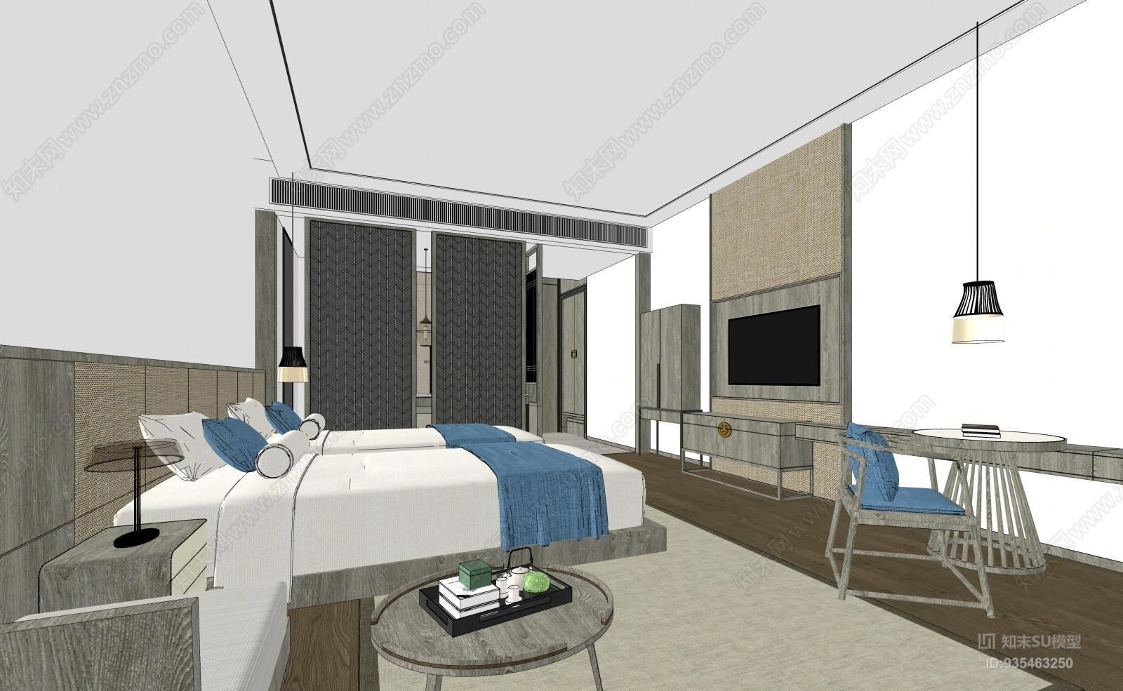 新中式酒店客房模型