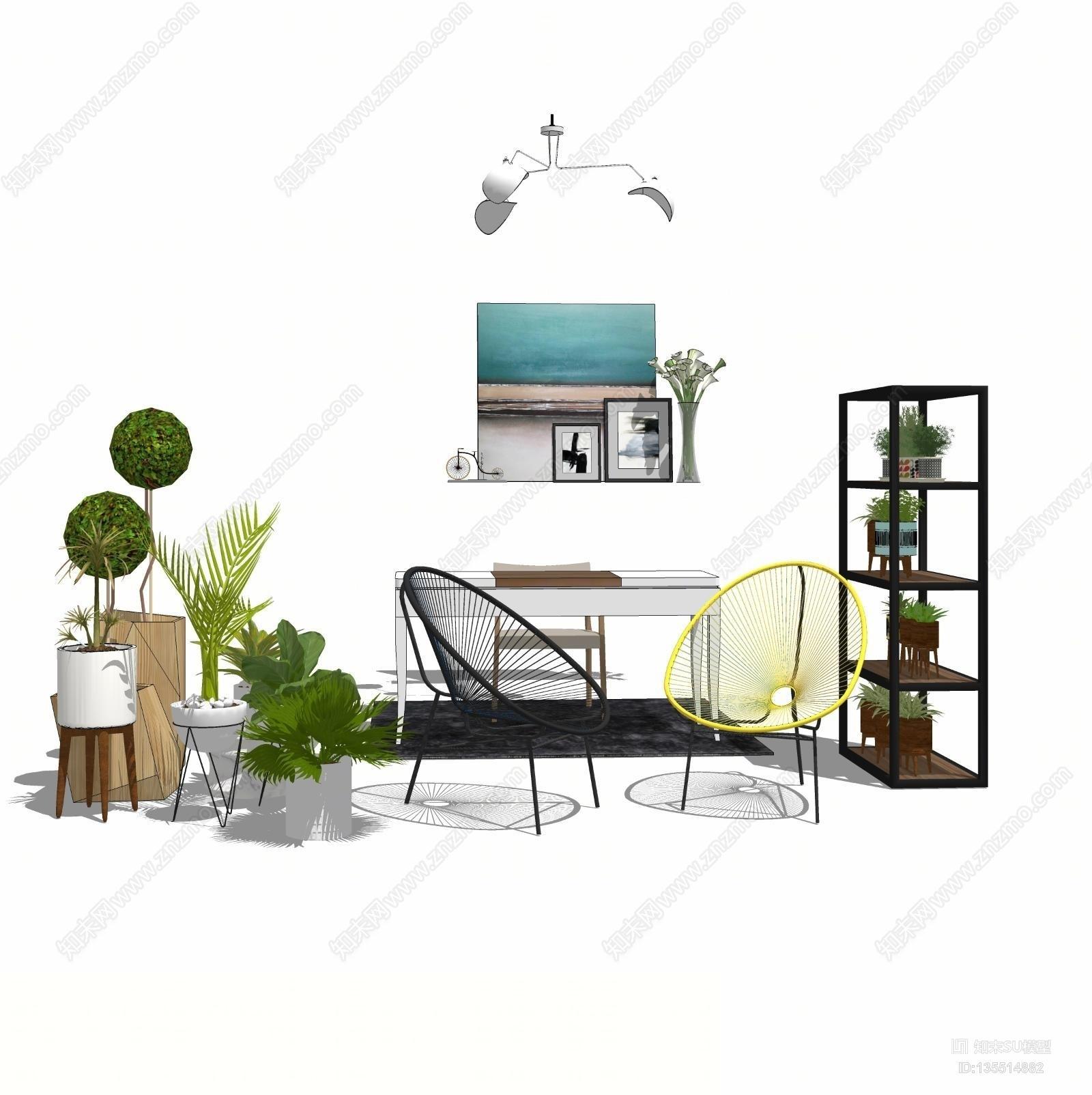 休闲空间绿植花架休闲椅组合