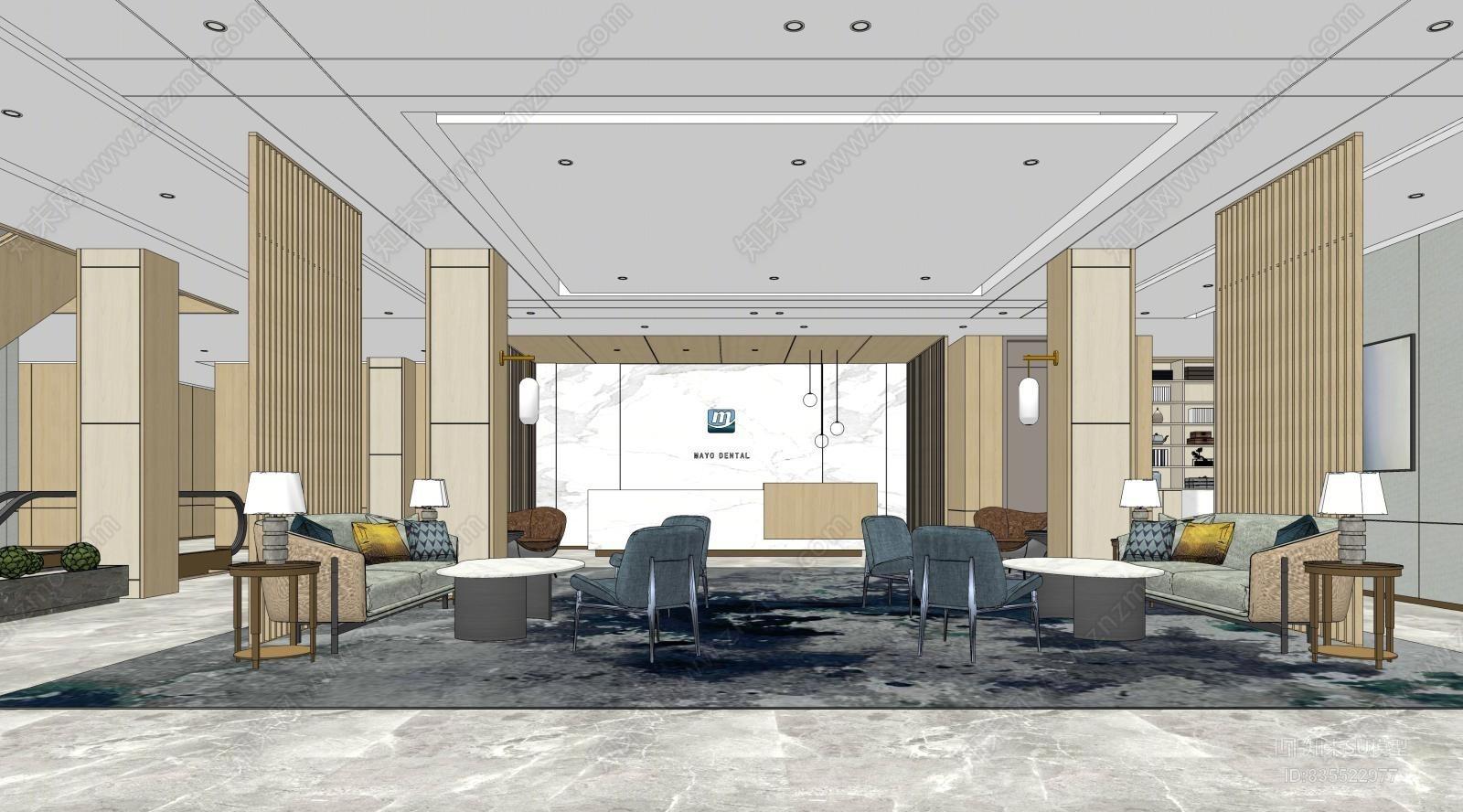 现代办公大堂空间模型