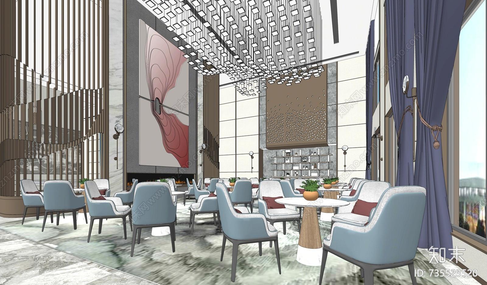 新中式售楼处洽谈区空间模型
