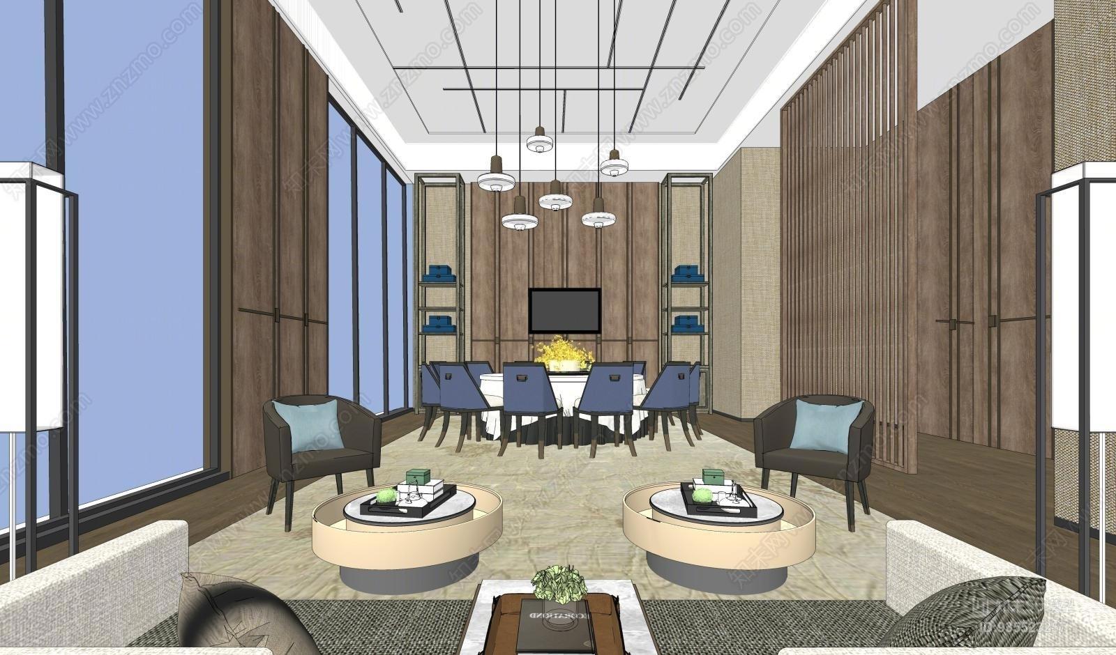 新中式餐饮包厢空间模型