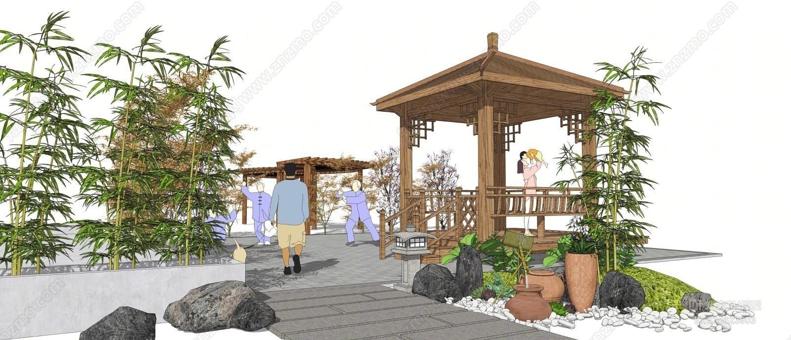 中式庭院凉亭 四角亭 竹子 石头 假山 石灯 廊架 植物组合
