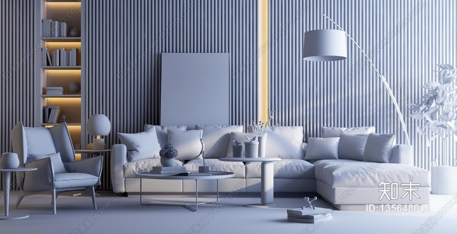 现代皮革转角组合沙发3D模型下载【ID:135648046】
