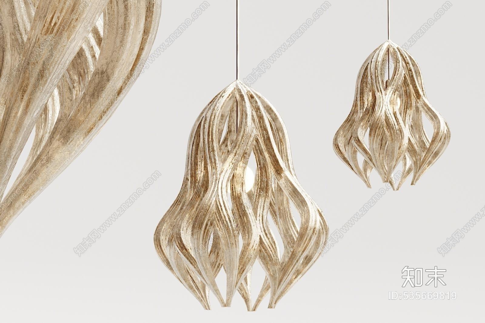 现代金属玻璃吊灯3D模型下载【ID:535669819】