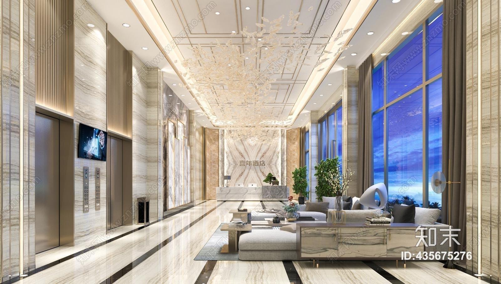 现代酒店 大堂 电梯 前台 背景墙