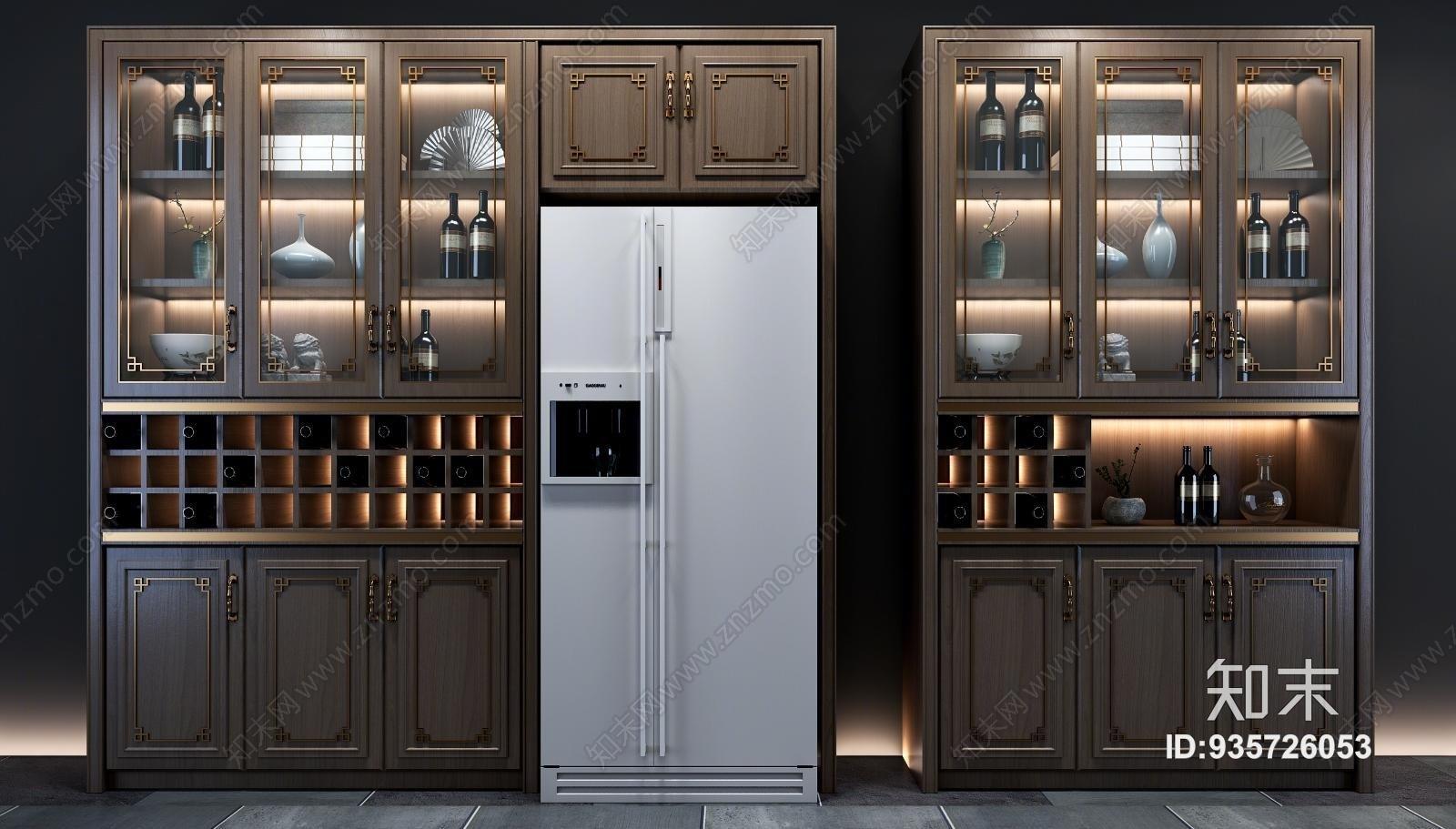 新中式酒柜组合3d模型下载
