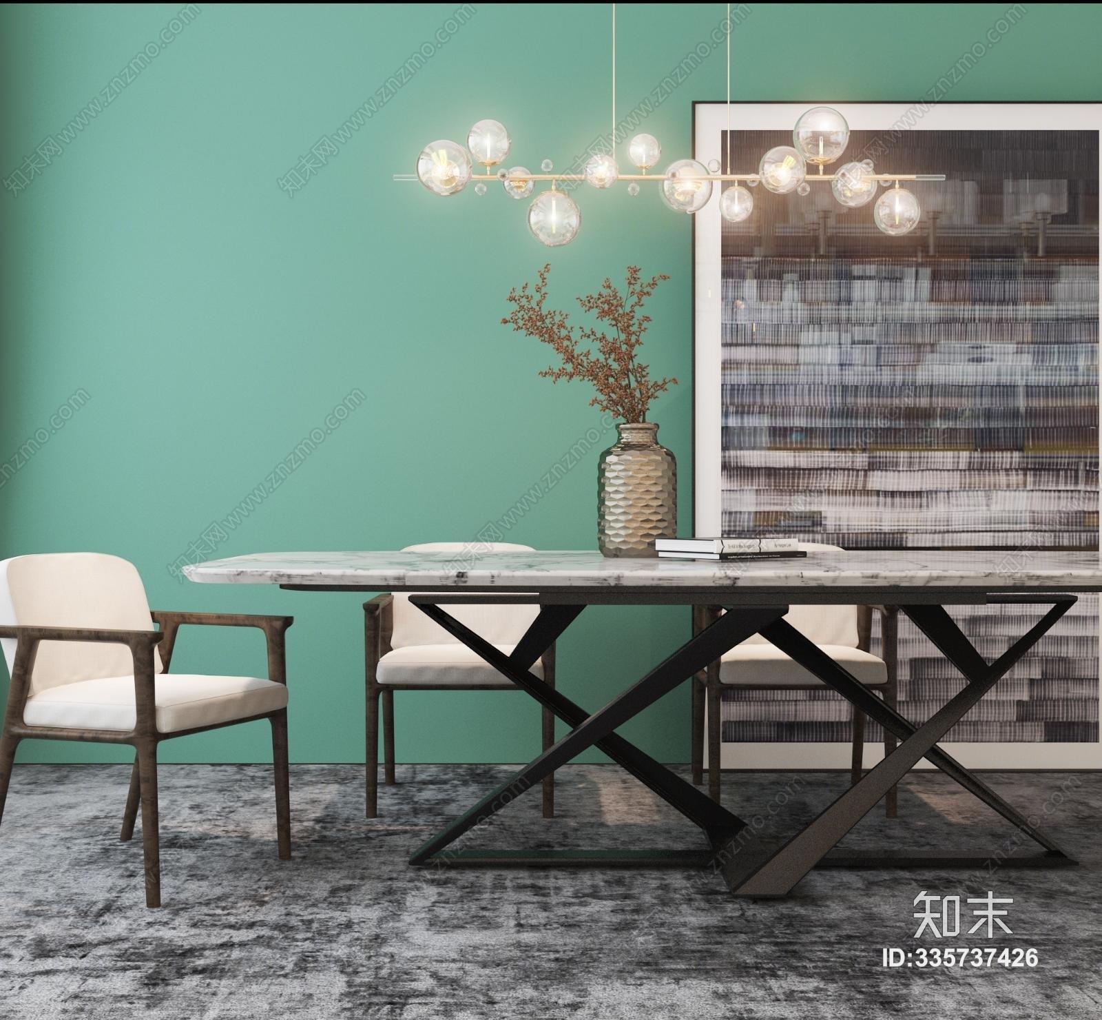 现代餐桌椅组合3D模型下载【ID:335737426】