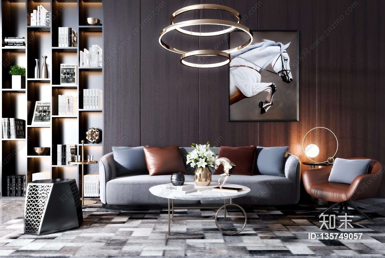 现代沙发茶几组合3D模型下载【ID:135749057】