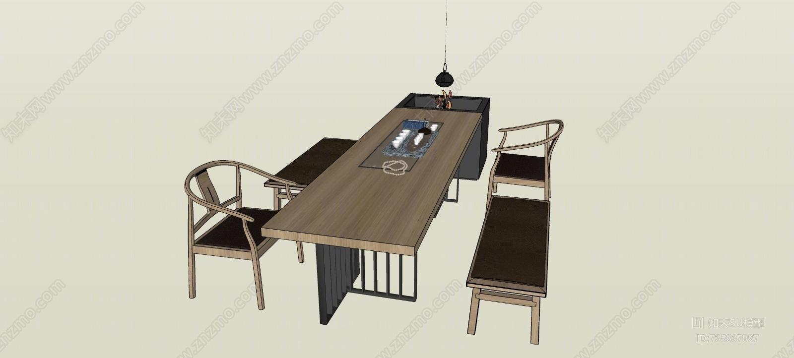 中式茶桌SU模型下载【ID:735837987】