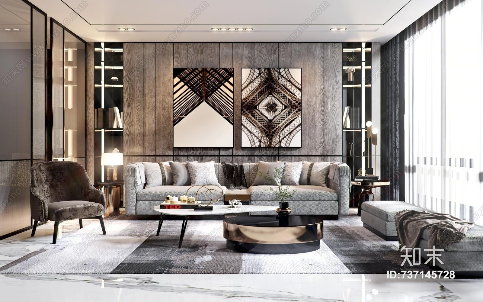 现代客厅 现代沙发茶几组合 凳子 单椅