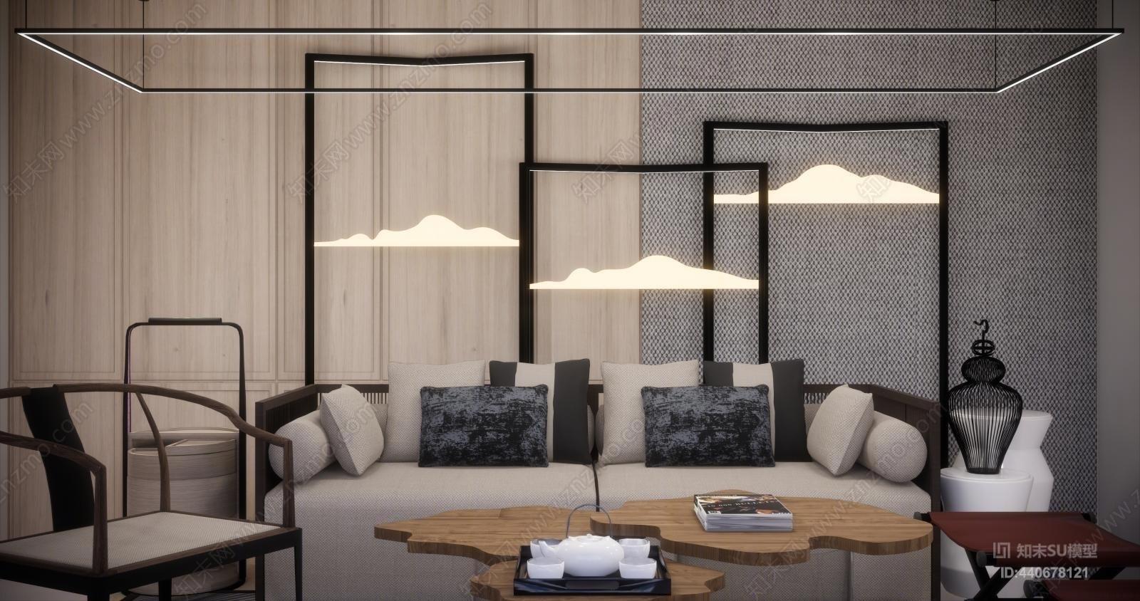 新中式沙发组合 新中式组合沙发SU模型