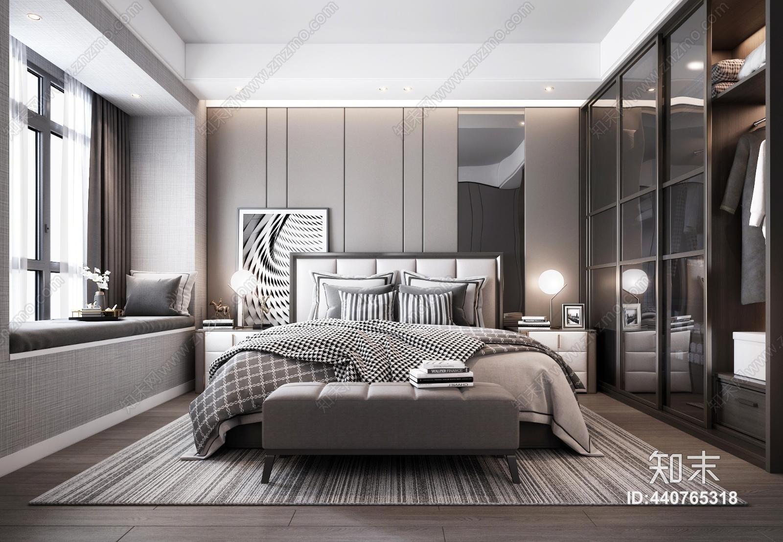 现代轻奢卧室3D模型下载【ID:440765318】