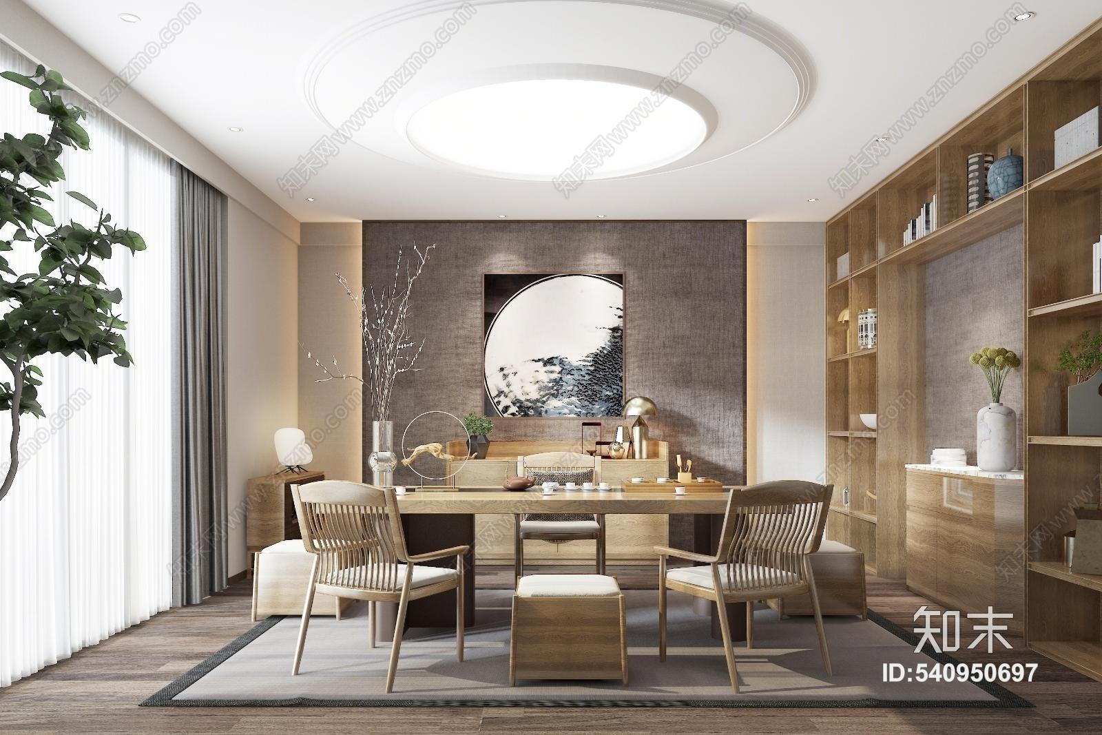 新中式茶室 书房 书桌 椅子 边柜 书柜 背景墙 装饰品