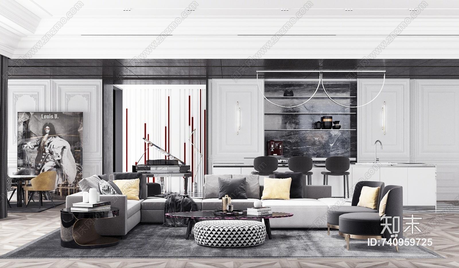 现代黑白灰客厅 餐厅 水吧区 钢琴区 沙发 餐桌 茶几 椅子